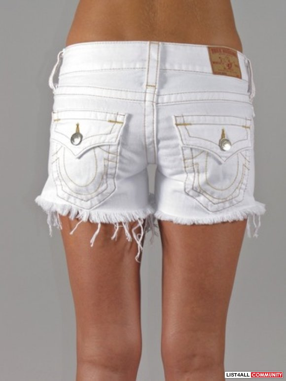 aa9ead1d3a TRUE RELIGION Keira White Cut-Off Shorts Jeans Women's 27/28 ...