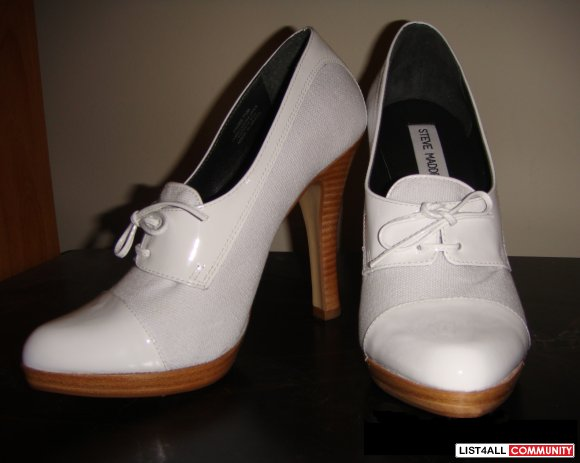 "STEVE MADDEN White Canvas/Patent Oxford 4.5"" Heels Shoes 8/8.5"
