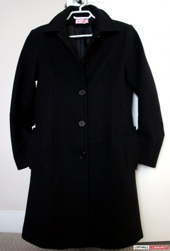 SAKURA Wool Blend Long Black Winter Coat Women's Small/Medium