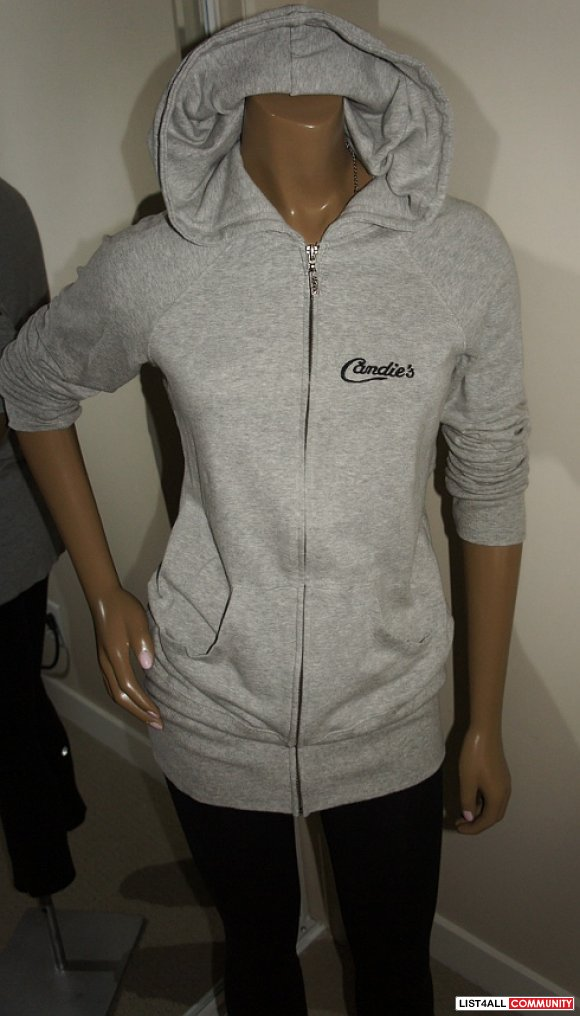 CANDIES Long Grey Zip-up Hoody Tunic Hooded Sweatshirt Top Women's S