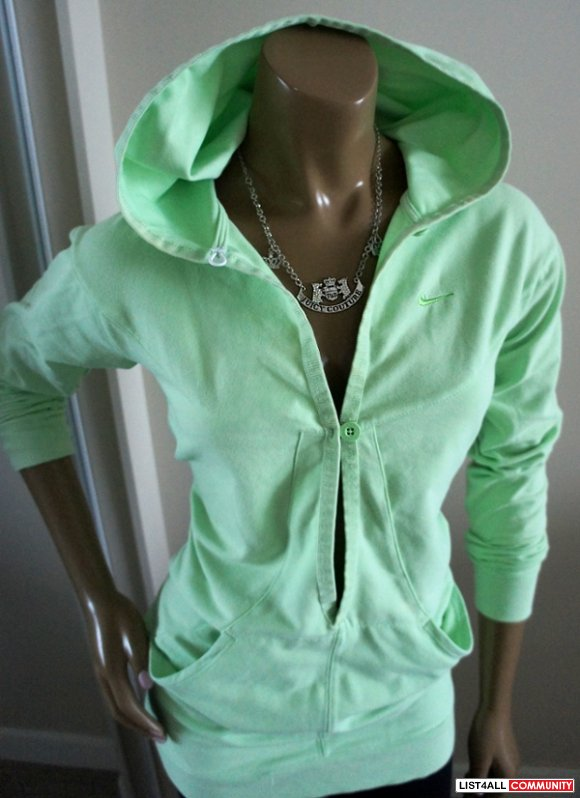 NIKE Fit-DRY Extra Long Open-Front Green Hoody Top Womens