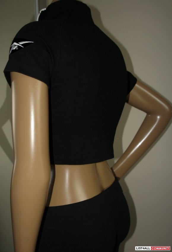 REEBOK Black+Grey+White Zip-up Crop Jacket Top Women's Small