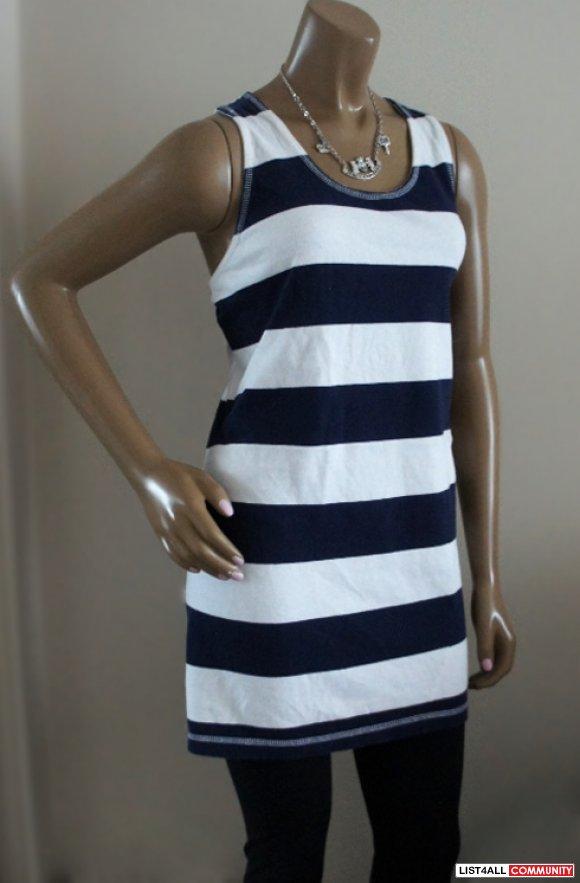 ESPRIT WhiteBlue Striped Cross Back Strap Dress Womens S