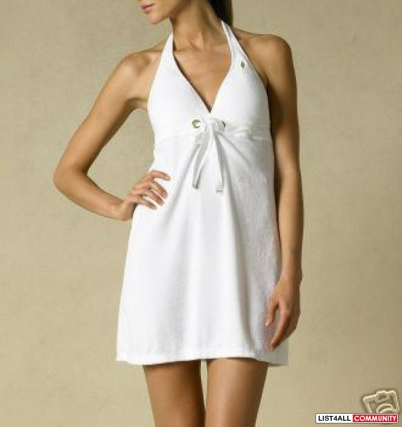 POLO Ralph Lauren White Terry Halter Bikini Cover-up Tunic Top S