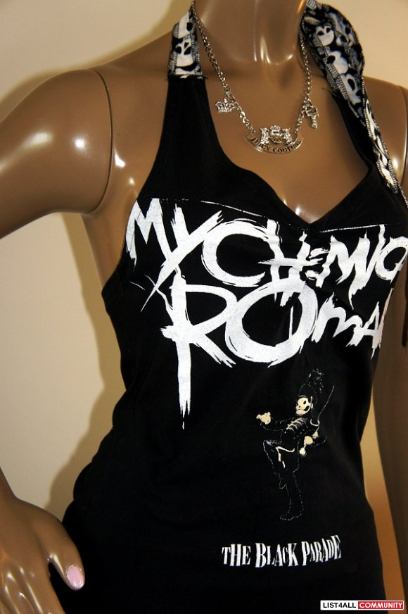 MY CHEMICAL ROMANCE Black Halter DIY Tunic Top Shirt S/M