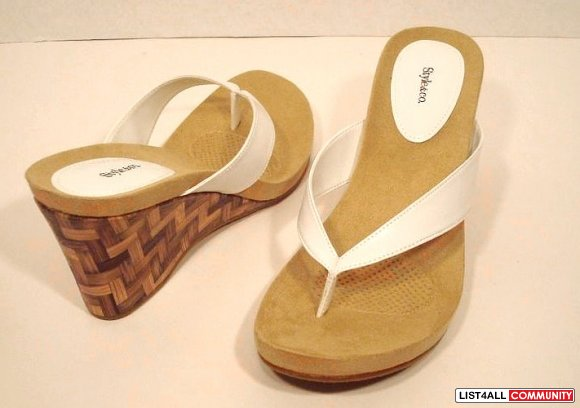 White Thongs Strap Wooden Wedge Platform Sandals Shoes 8