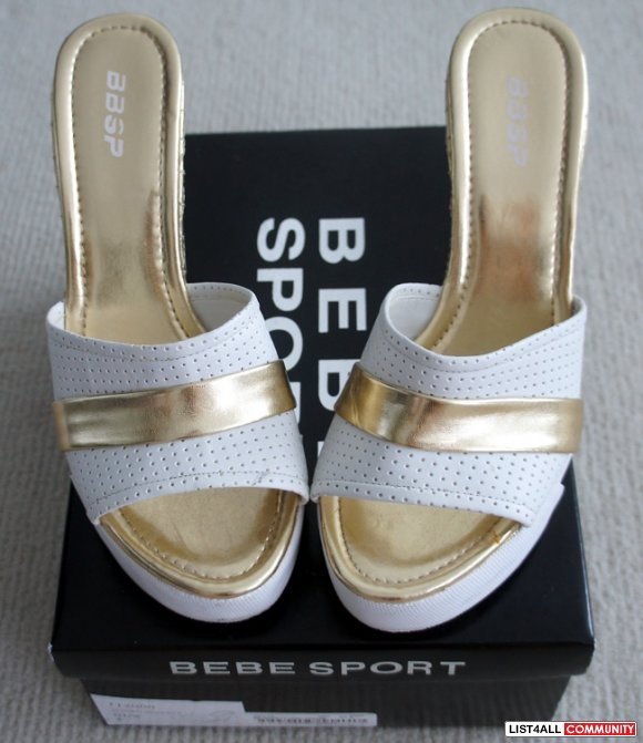 "BEBE SPORT White+Gold 4.5"" Platform Wedge Peep-Toe Heels Shoes 8"