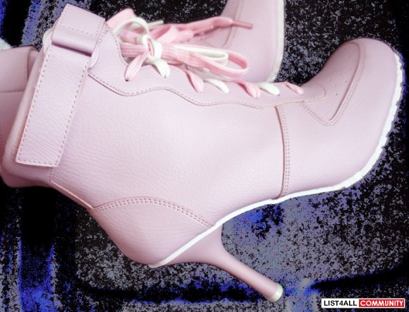 "NIKE Air Force 1 One Inspired 4"" Heels Ankle Boots Pink Womens 8"