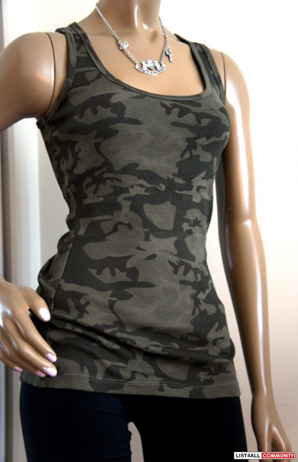 Women's Camouflage Camo Green Long Fitted Ribbed Tank Top Small