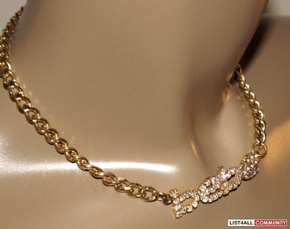 Bebe Logo Gold 15 Quot Rhinestone Choker Necklace Rare
