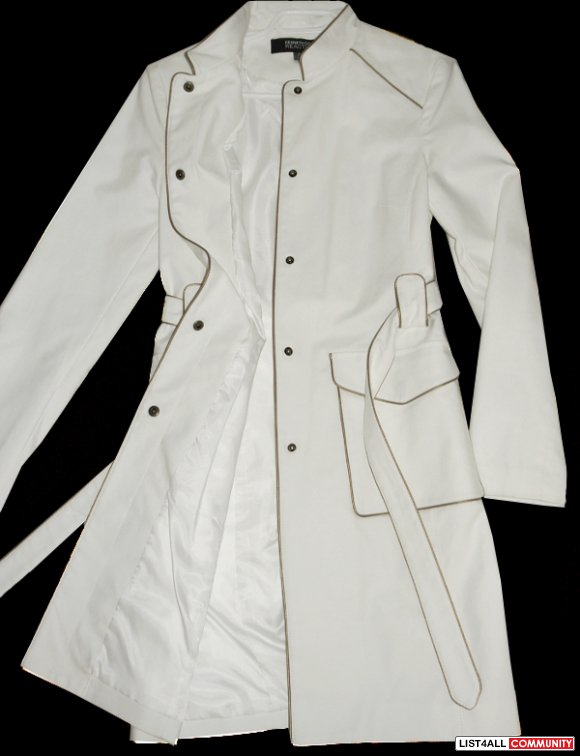 KENNETH COLE Long White Belted Waist Modern Fit Coat Women's M