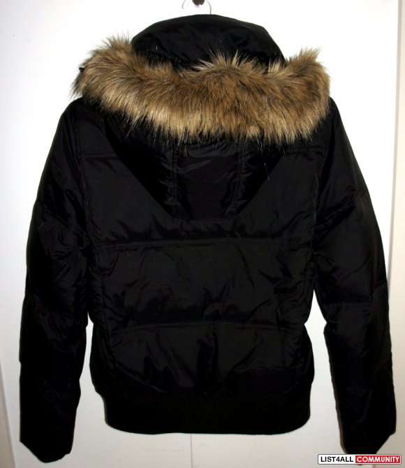 JACOB Fur Hooded Black Bomber Jacket Puffy COAT Women's Small
