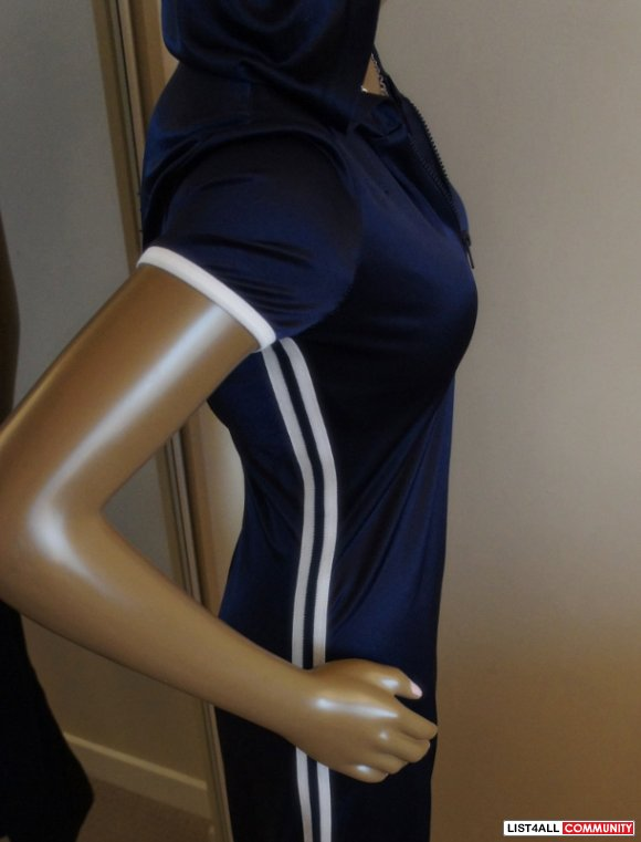 Adidas Inspired Blue + White Stripe Long Hooded Clubbing Dress S