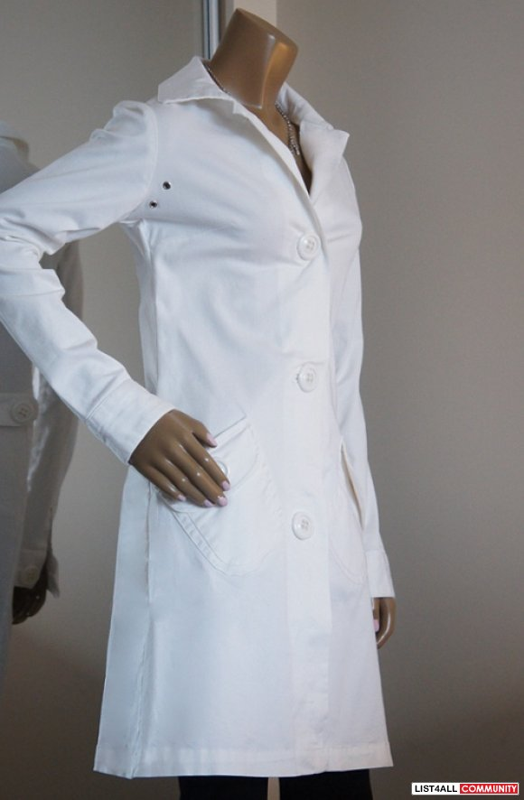TAXI Long Sleeve White Fitted Dress Coat/Jacket Womens Small