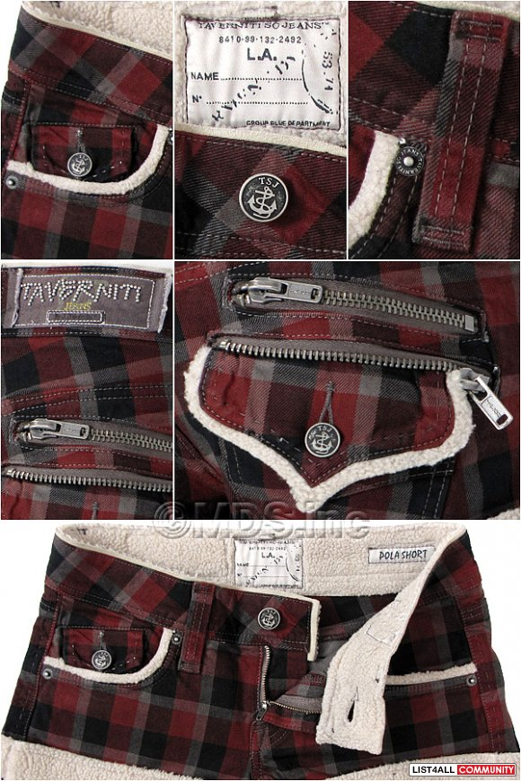 TAVERNITI SO Designer Plaid Warm Polar Shorts Women's 27