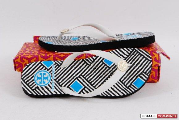 Tory Burch Gold Logo Black White Flip Flops Thongs Sandals