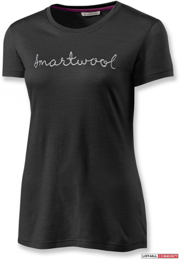 Smartwool logo merino wool black tee shirt women 39 s m l for Merino wool shirt womens