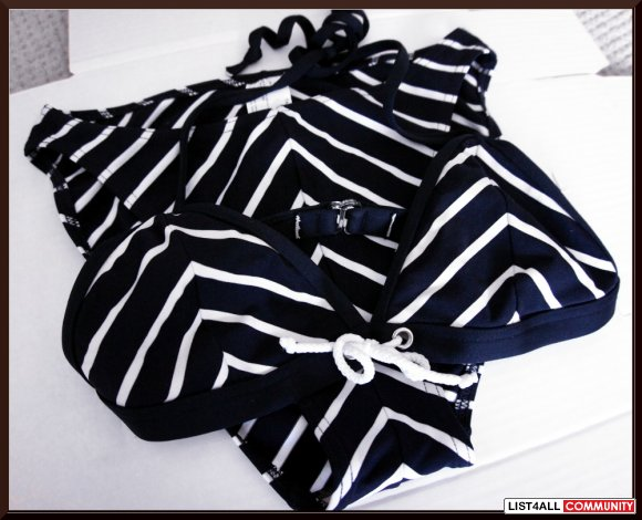 BALTEX Navy Blue+White Nautical Stripe Halter Bikini Top+Bottoms