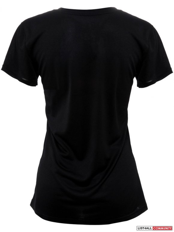 NIKE LIVESTRONG Dri-Fit Black V-Neck Logo Tee Shirt Women's M