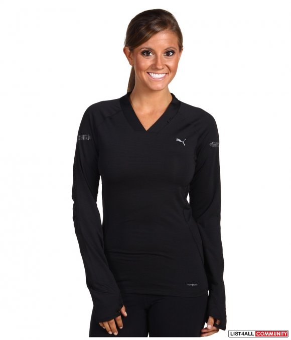 PUMA V-Neck Tech Long Sleeve Running Tee Top Black Women's M