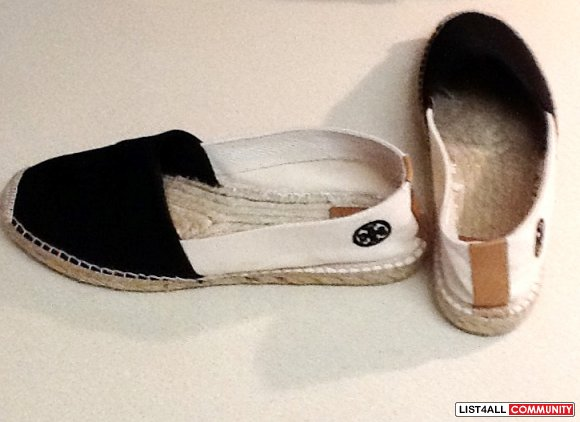 TORY BURCH Bi-Color Black/White Canvas Slip-on Espadrilles Shoes 8
