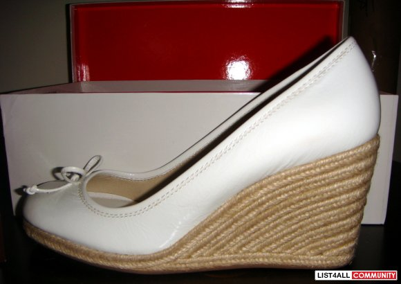 "COACH White Patent Leather 3.5"" Wedge Espadrilles Heels Shoes 7.5"