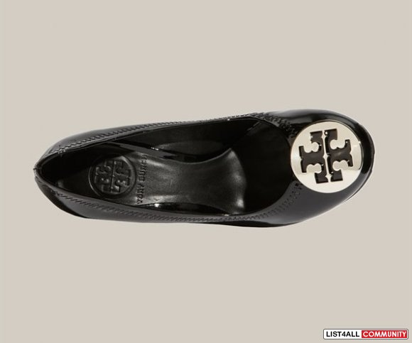 TORY BURCH Sophie Black/Silver Logo Wedge Heels Shoes 8.5