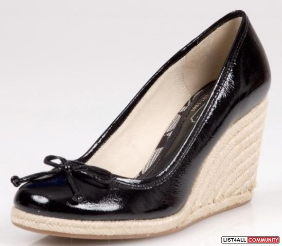 Coach Ireland Black Patent Leather 3 5 Quot Wedge Espadrilles