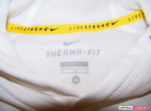 NIKE Livestrong Therma Fit All Time White Hoody/Hoodie Womens M