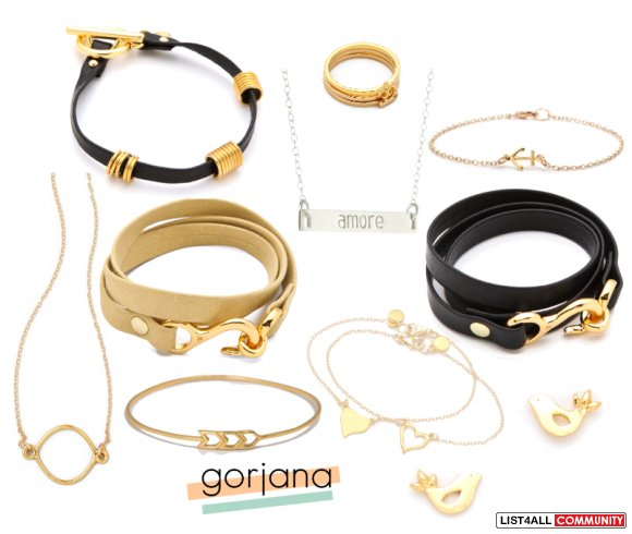 GORJANA Designer Gold+Crystal/Diamond Solitaire Charm Necklace