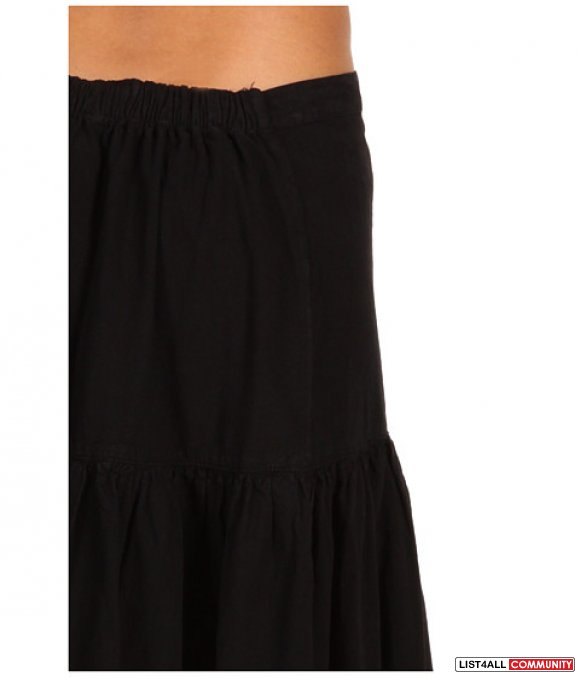 TAYLOR MARCS Long Black Tiered Cotton Boho Skirt S/M NEW!
