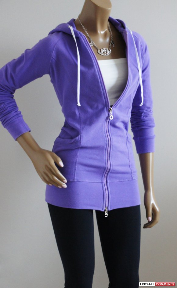 J76 Extra Long  Slim Fit Zip-up Hoody/Hoodie Jacket Women's XS