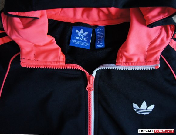 ADIDAS Black+Neon Full Zip-up Hoodie/Hoody Jacket Womens M