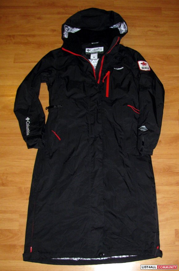 Columbia Waterproof Long Black Winter Rain Jacket Coat