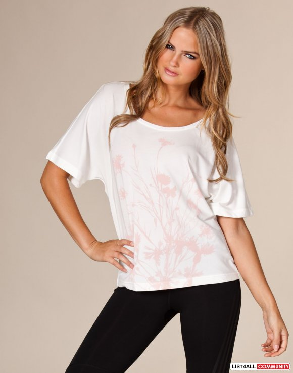 ADIDAS by Stella McCartney White On/Off Shoulder Sexy Tee Top S/M
