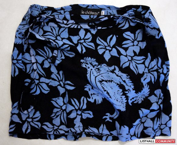 LE CHATEAU Swimsuit Cover-up Beach Sarong Wrap Short Blue Skirt