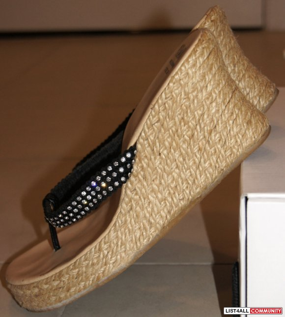 "PEGABO Paved Crystal Straps 3"" Woven Wedge Heels/Shoes 7.5"
