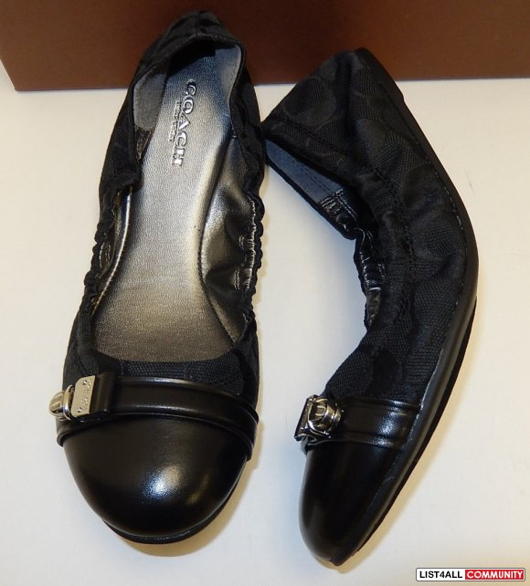 COACH Black Jacquard Logo Leather Ballet Flats Shoes Womens 8