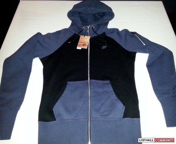 NIKE Full-Zip Hoodie Jacket Hoody Women's M Blue/Black - RARE!