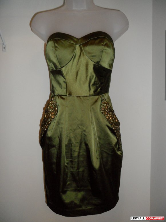 bebe olive green satin dress
