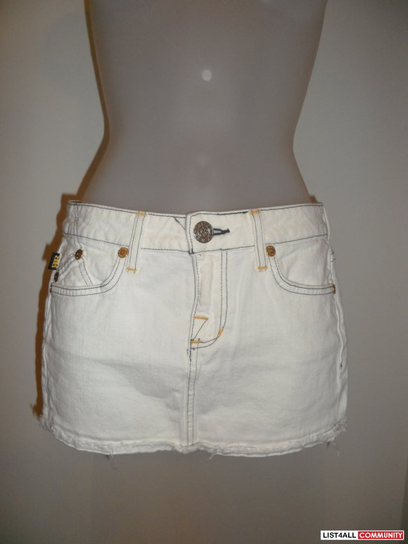 rock & republic white denim skirt