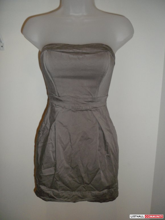 french connection grey satin dress