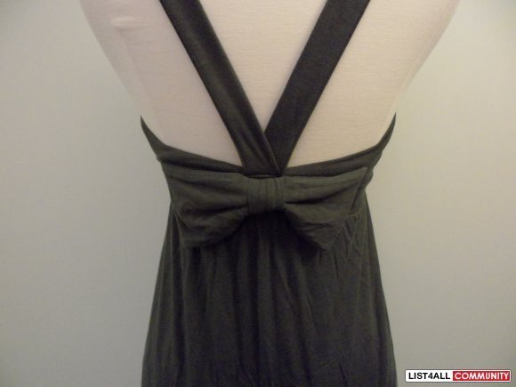 aritzia - talula charcoal grey dress with bow on back
