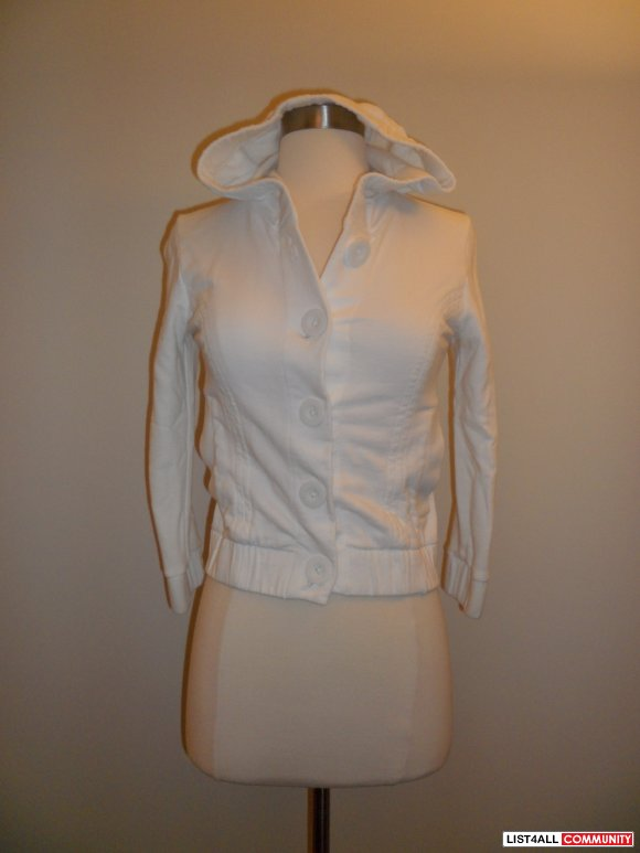aritzia - talula white button up sweater with hoodie