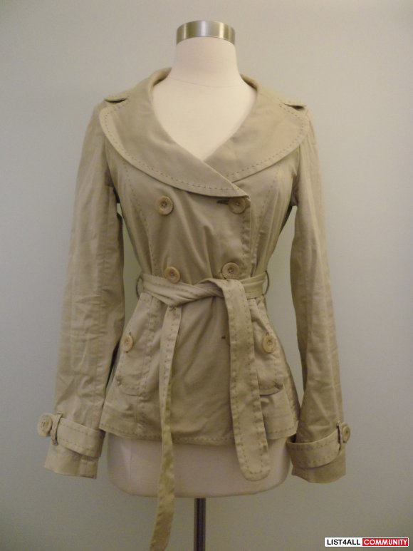 aritzia - talula beige short trench/coat