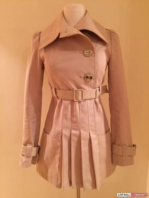 mackage beige trench with leather detailing