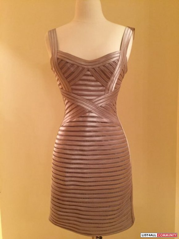 bcbg nude/gold bandage dress