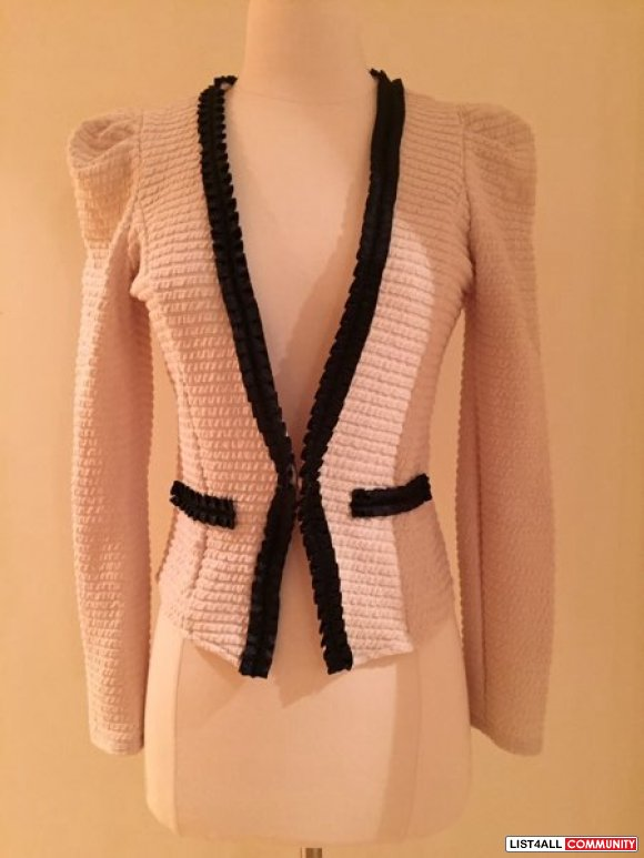 chanel inspired off white with black trim blazer