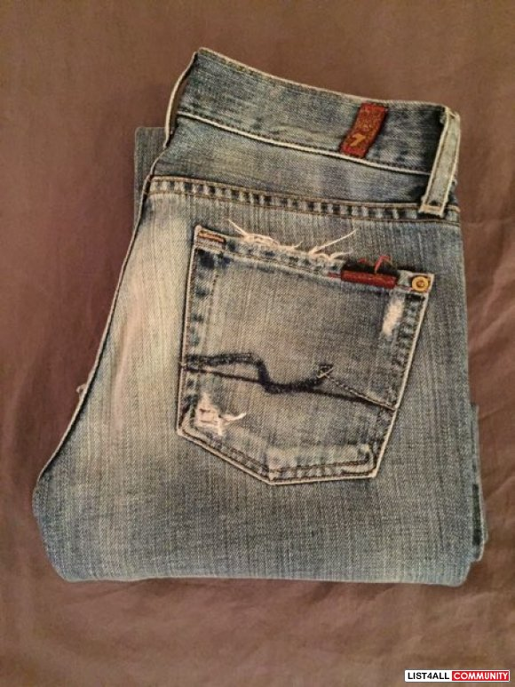 Sevens ripped wide denim jeans