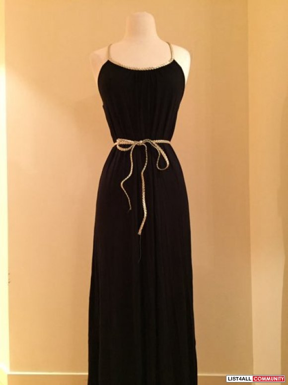 Love culture black maxi dress with gold brain detailing